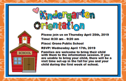 Kindergarten Orientation for upcoming JK's